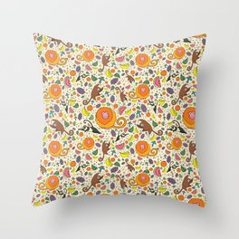 Cute Jungle and Monkeys Throw Pillow