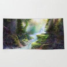 Magical Forest Stream Beach Towel