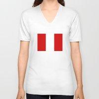 peru V-neck T-shirts featuring Peru country flag by tony tudor
