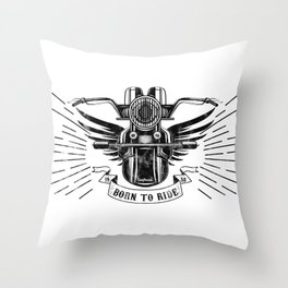 Old School Motorcycle Throw Pillow
