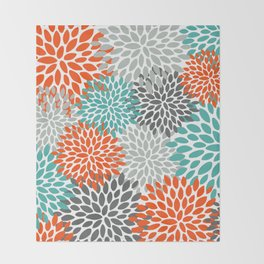 Floral Pattern, Abstract, Orange, Teal and Gray Throw Blanket