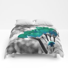 Teal Turquoise Flowers Comforters