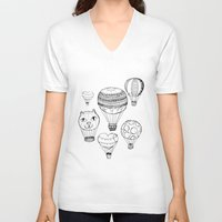 hot air balloons V-neck T-shirts featuring dreaming of hot air balloons by Oh, Hopscotch!