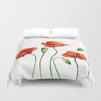 poppies Duvet Covers featuring Poppies by Julia Badeeva