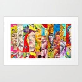 Female Faces Portrait Collage Design 1 Art Print