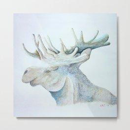Watercolor Art 08, Älg Moose Portrait Metal Print