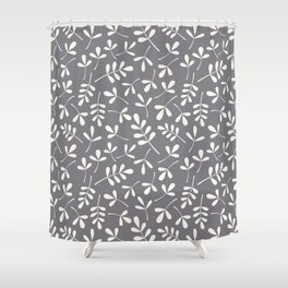 Assorted Leaf Silhouettes Cream on Grey Ptn Shower Curtain