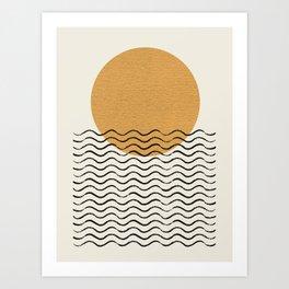 Ocean wave gold sunrise - mid century style Art Print