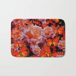 Monarch Butterflies & Old Roses Montage Art Bath Mat