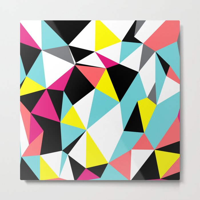 Colorful bright geometrical triangles print Metal Print