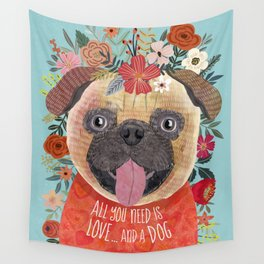 Pug with flowers. Dog lovers Wall Tapestry