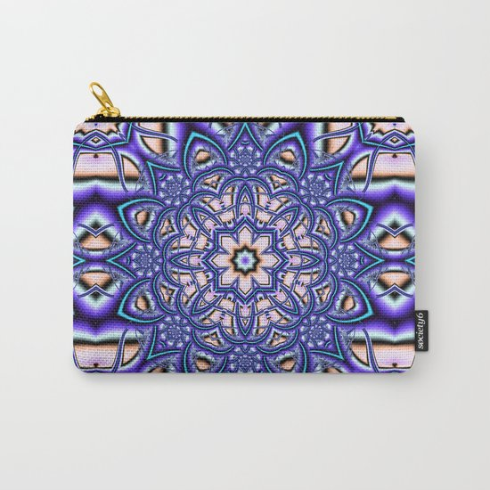 Kaleidoscope flower in purple, pink, blue and salmon. Carry-All Pouch
