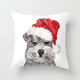 Christmas Schnauzer Throw Pillow