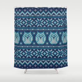 Owls winter knitted pattern Shower Curtain