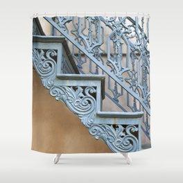 Savannah Blue Staircase Shower Curtain