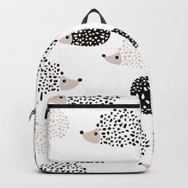 Hedgehog friends black and white spots Backpack