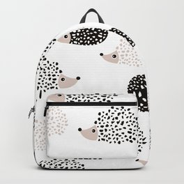Hedgehog friends black and white spots Backpack