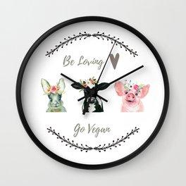 Vegan Gift Idea Be Loving Go Vegan Wall Clock