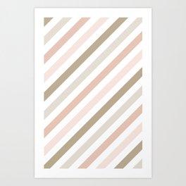 Pink & Gold Diag Art Print