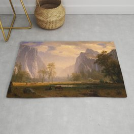 Looking Up The Yosemite Valley 1865 By Albert Bierstadt | Reproduction Painting Rug