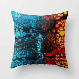 FIRE & ICE Acrylic Pour Painting Throw Pillow