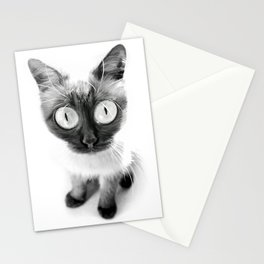 Funny alien cat Stationery Cards