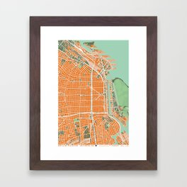 Buenos Aires city map orange Framed Art Print