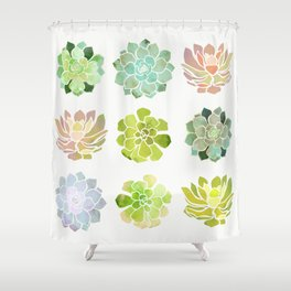 Spring Succulents Shower Curtain