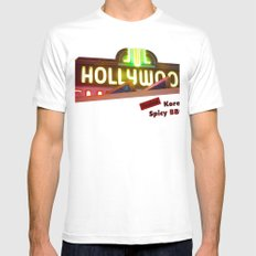 Hollywood Neon White MEDIUM Mens Fitted Tee