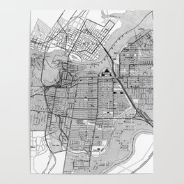 Vintage Map of Ottawa Canada (1915) BW Poster