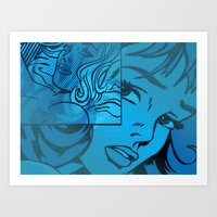 lichtenstein Art Prints featuring Lichtenstein collage by klasicamenta