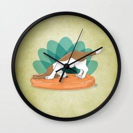 Basset Hound Downward Dog Wall Clock