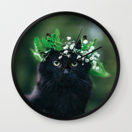 Black Cat in Flower Crown Wall Clock