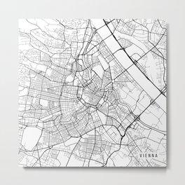 Vienna Map, Austria - Black and White  Metal Print