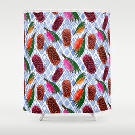 Australian Native Flowers - Grevillea and Beehive Ginger Shower Curtain