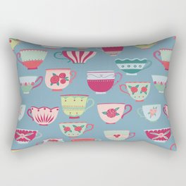 China Teacups on Teal Rectangular Pillow