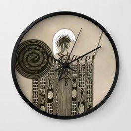 "Art Deco Sepia Illustration ""Athena"" Wall Clock"