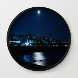 Wolf Moon Rising Over Blue Waters Wall Clock