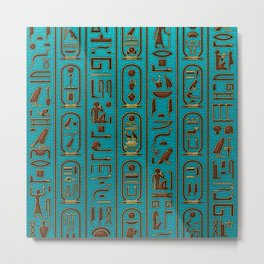 Egyptian Golden Leather hieroglyphs embossed on teal Metal Print