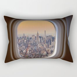 New York skyline from airplane window Rectangular Pillow