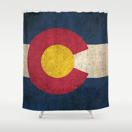 Old and Worn Distressed Vintage Flag of Colorado Shower Curtain