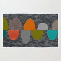 mid century modern Area & Throw Rugs featuring Mid-Century Modern Abstract Ovals by Kippygirl