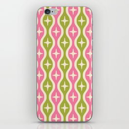 Mid century Modern Bulbous Star Pattern Pink and Green iPhone Skin