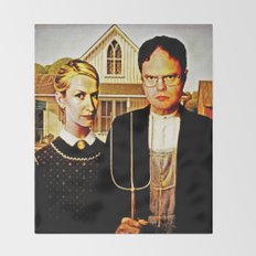 Dwight Schrute & Angela Martin (The Office: American Gothic) Throw Blanket