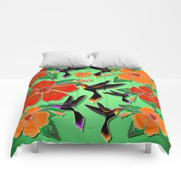 Hummingbird and Hibiscus Batik Pattern Comforters