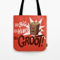 groot Tote Bags featuring It's Groot by Gimetzco's Damaged Goods