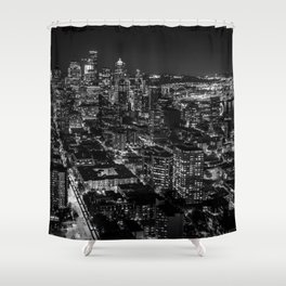 Seattle from the Space Needle in Black and White Shower Curtain