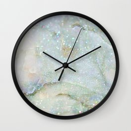 Elegant Aqua Marble with Flecks of Diamond Glitter Wall Clock