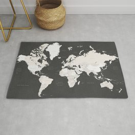 Chalkboard world map with countries and states labelled Rug