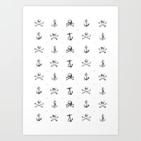 pirates Art Prints featuring Pirates by very giorgious